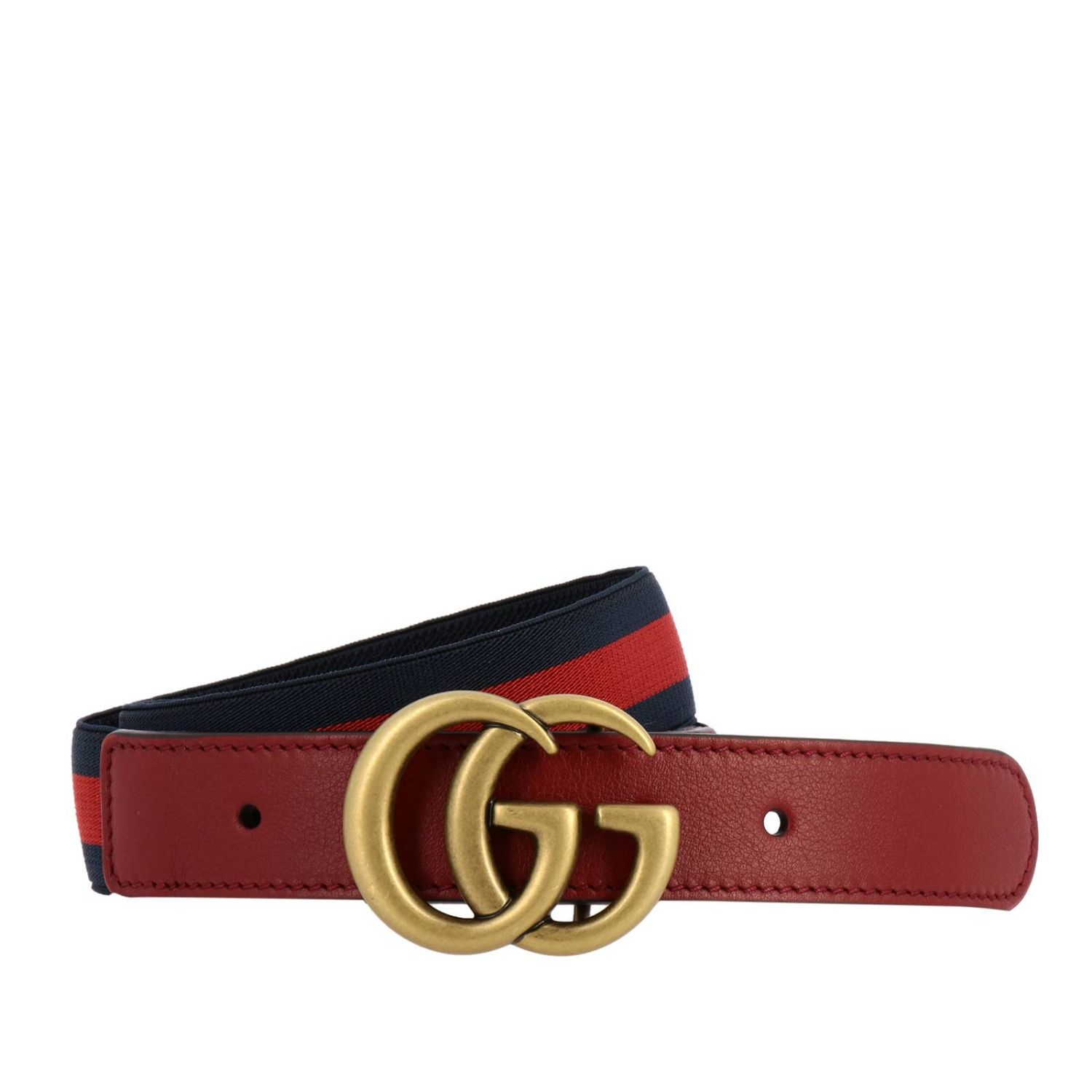 Marmont belt in leather with Web elastic and GG Gucci monogram blue 1