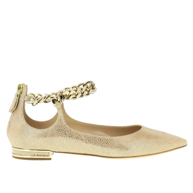 Casadei 金属链条绒面革金银丝尖头芭蕾舞鞋 金色 1