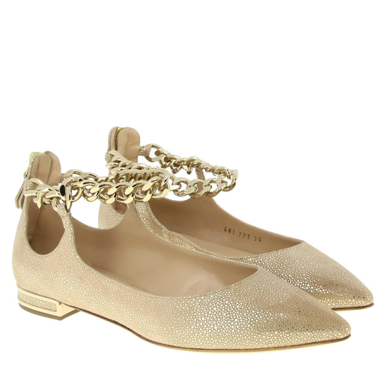 Casadei 金属链条绒面革金银丝尖头芭蕾舞鞋 金色 2