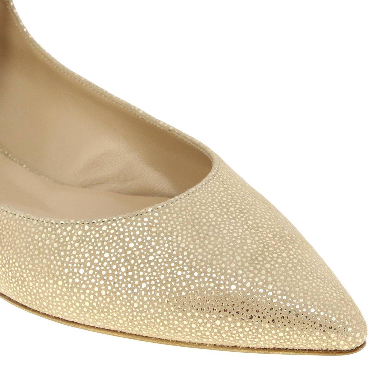 Casadei 金属链条绒面革金银丝尖头芭蕾舞鞋 金色 4