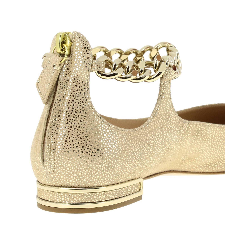 Casadei 金属链条绒面革金银丝尖头芭蕾舞鞋 金色 5