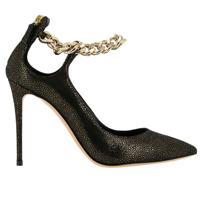 Туфли Casadei с острым носком из замши и люрекса черный 1