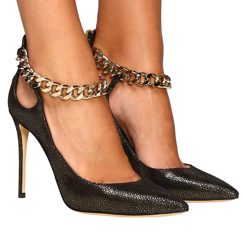 Туфли Casadei с острым носком из замши и люрекса черный 2