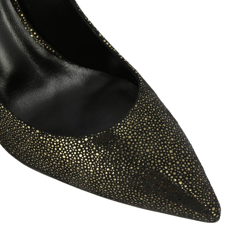 Туфли Casadei с острым носком из замши и люрекса черный 3