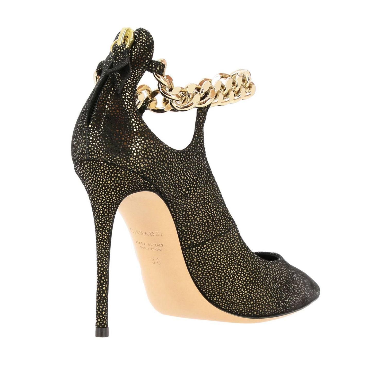 Туфли Casadei с острым носком из замши и люрекса черный 4