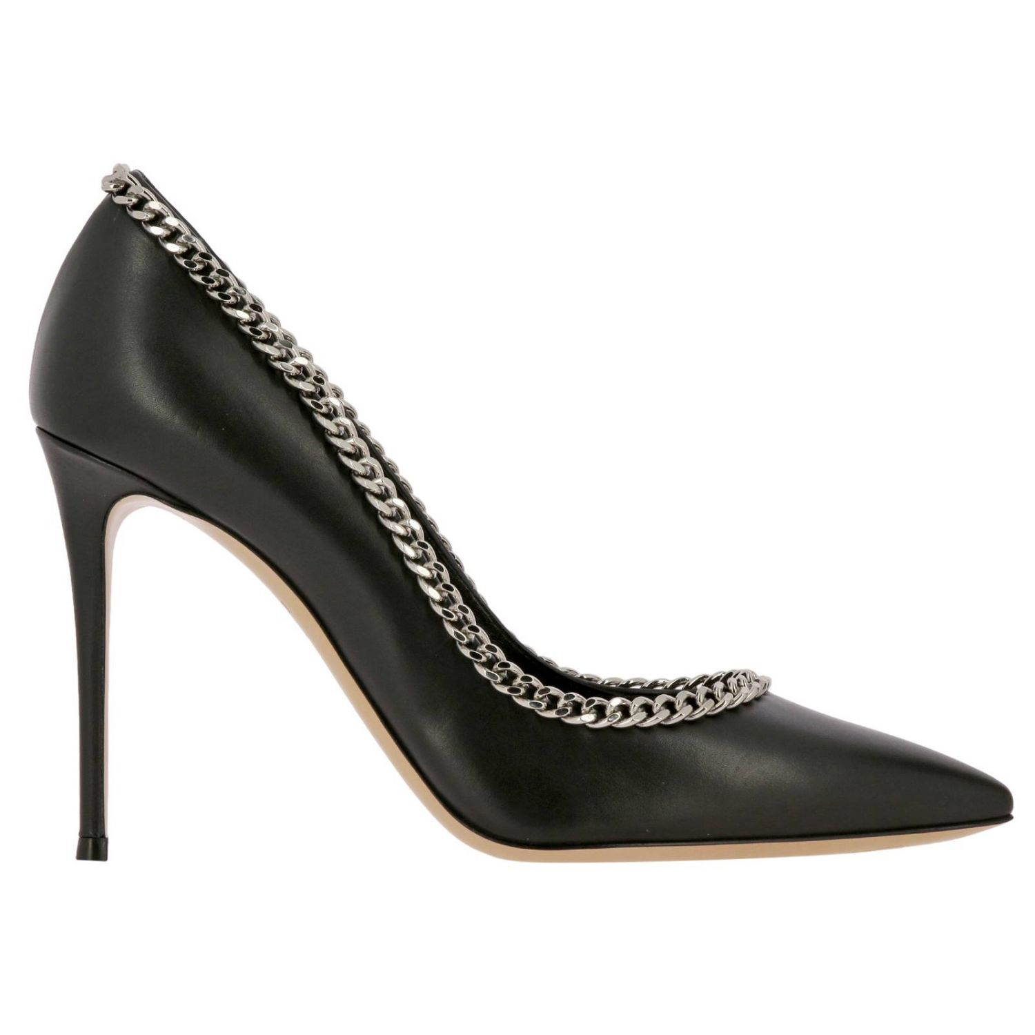 Casadei décolleté in leather with metal chain edges black 1