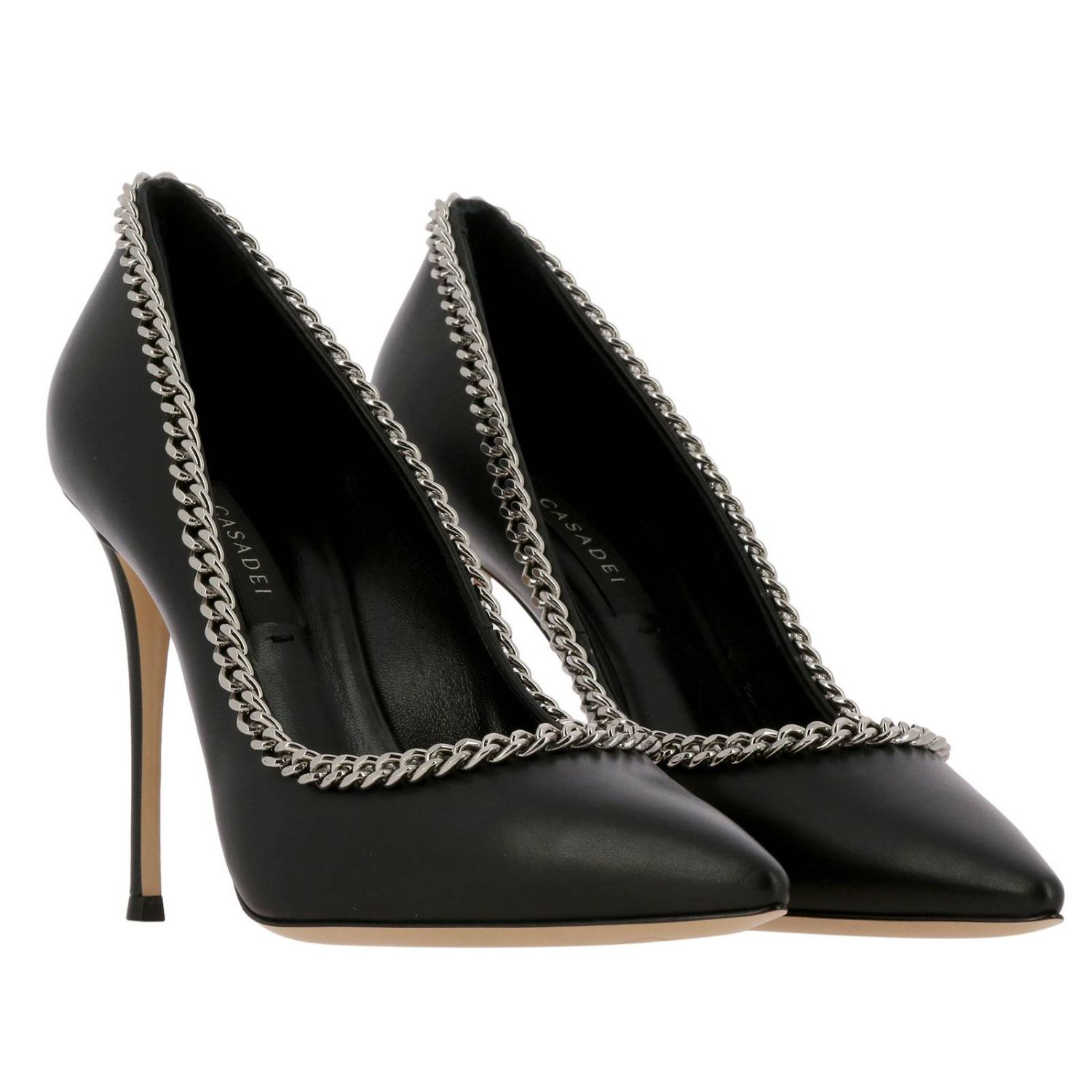 Casadei décolleté in leather with metal chain edges black 2