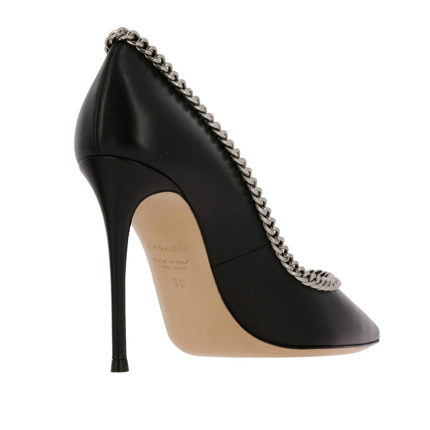 Casadei décolleté in leather with metal chain edges black 5