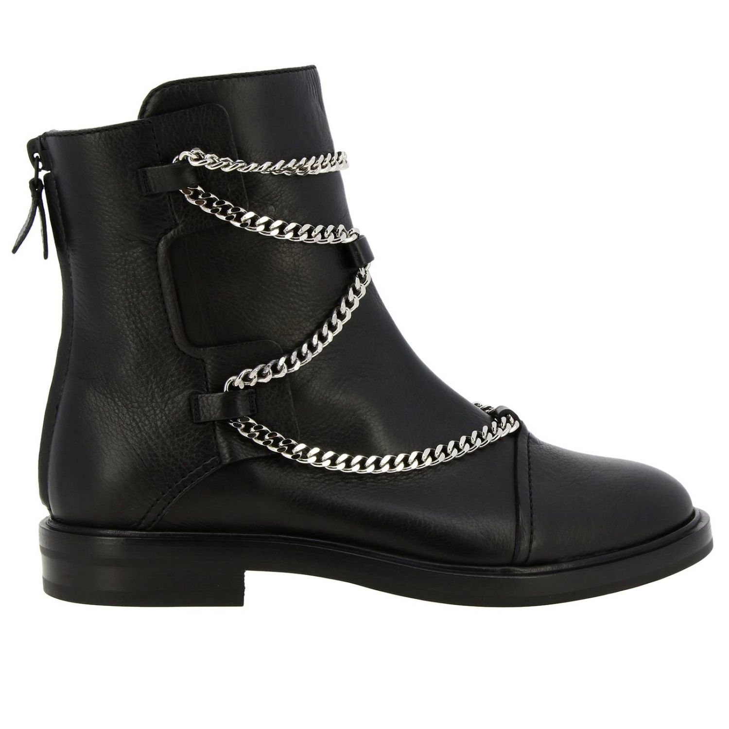 Tango Casadei biker boots in leather with metal chains black 1