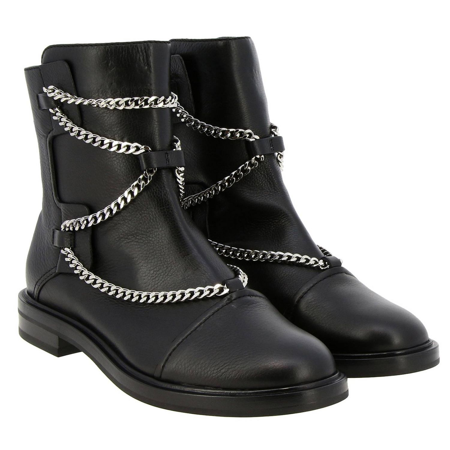 Tango Casadei biker boots in leather with metal chains black 2