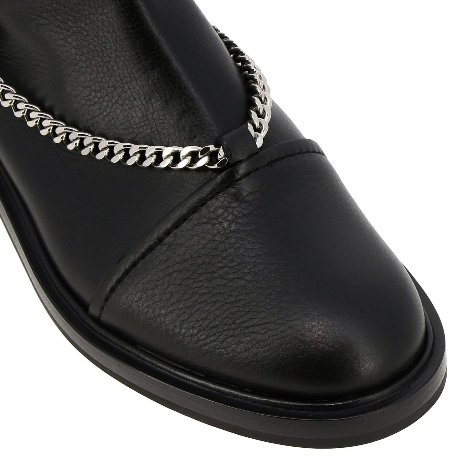 Tango Casadei biker boots in leather with metal chains black 3