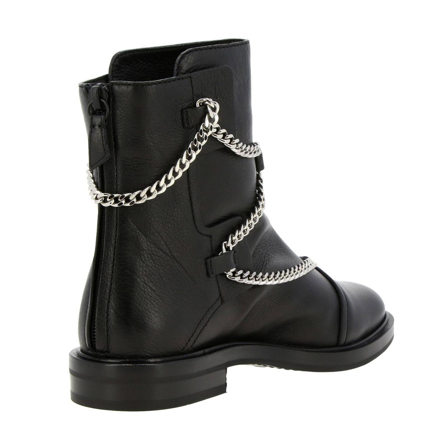 Tango Casadei biker boots in leather with metal chains black 4