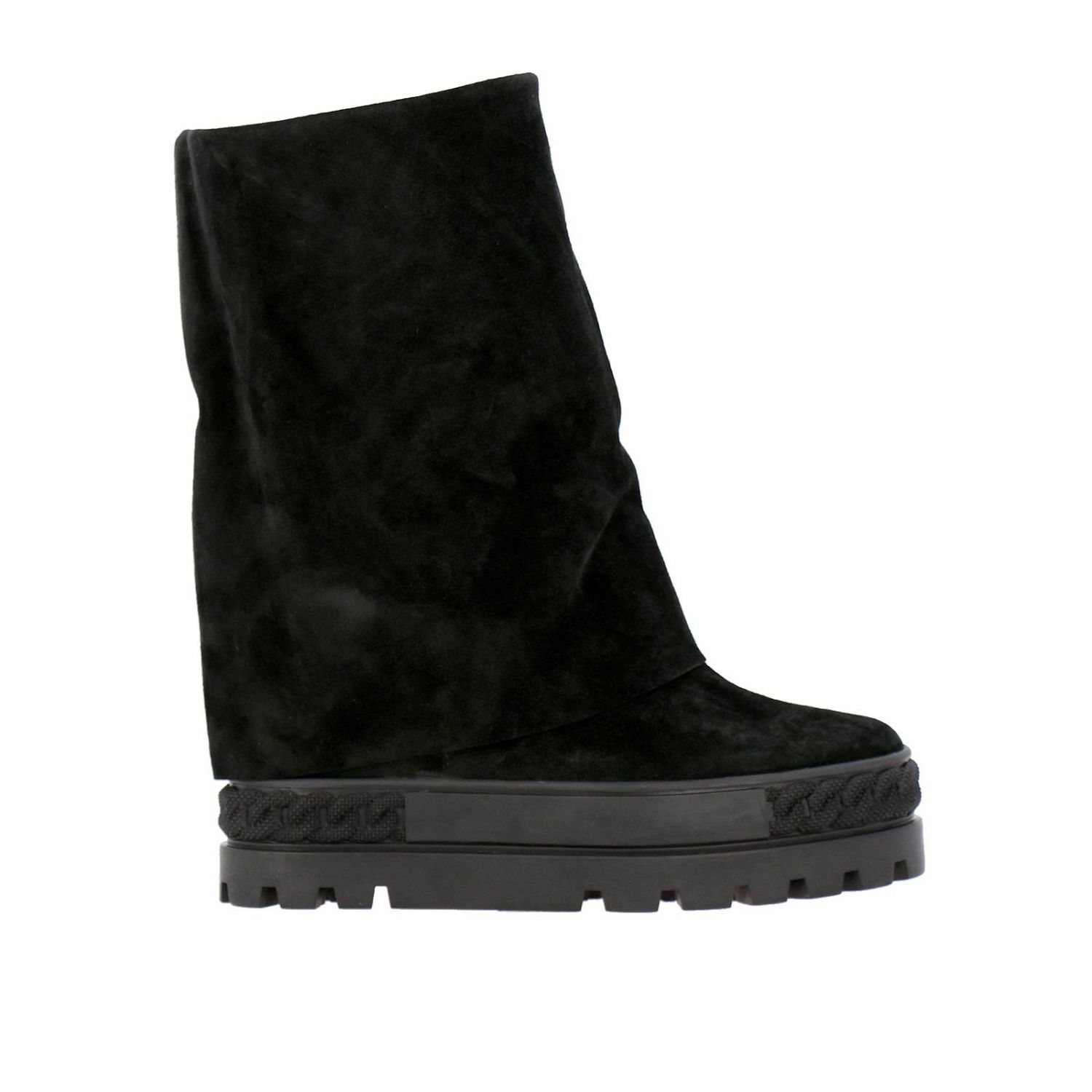 Renna Casadei double face sneaker boots in suede black 1