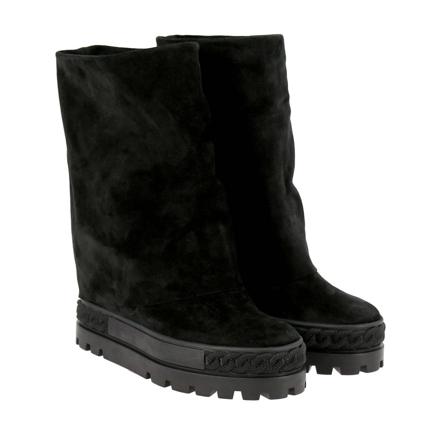 Renna Casadei double face sneaker boots in suede black 2