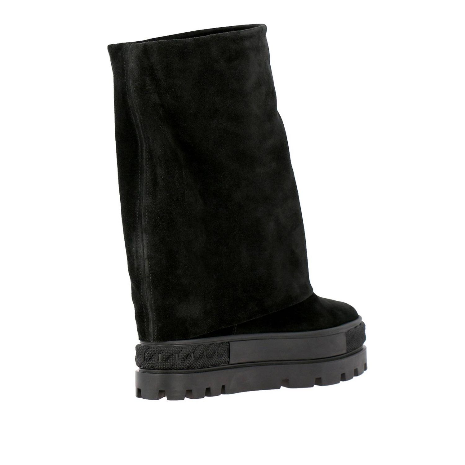 Renna Casadei double face sneaker boots in suede black 4