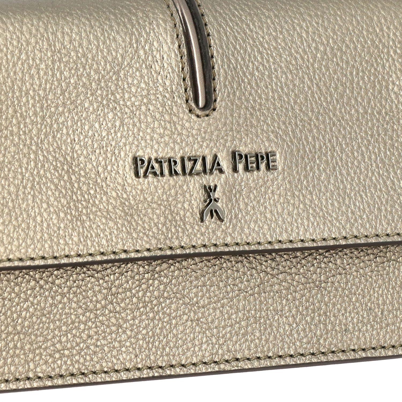 腰包 Patrizia Pepe: Patrizia Pepe logo装饰金属感真皮迷你腰包 炭黑色 4