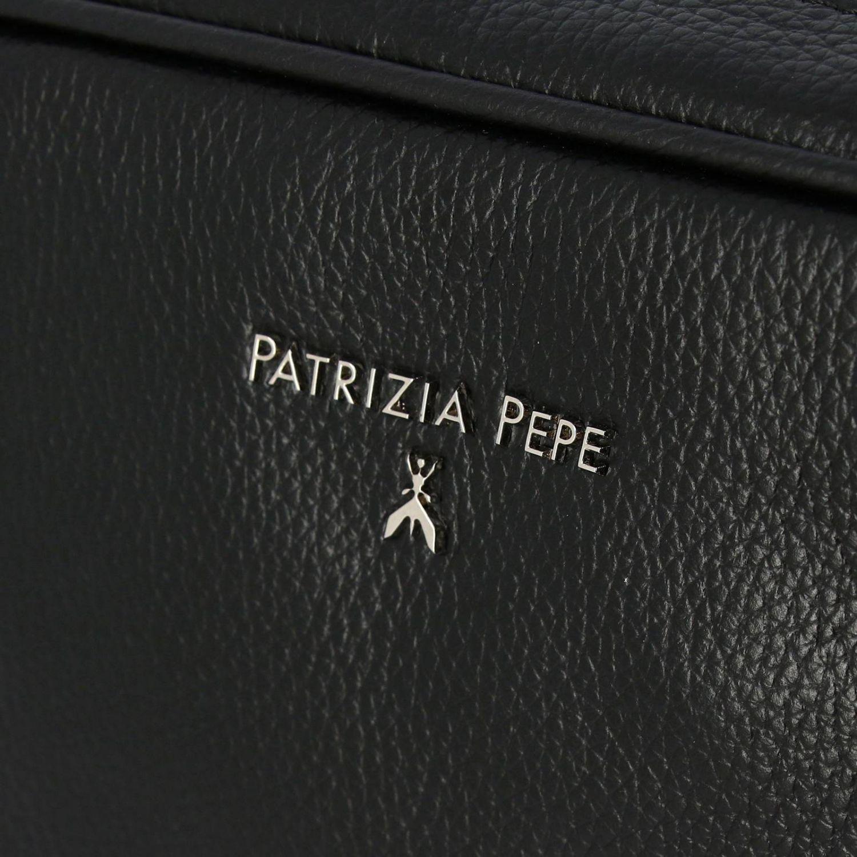 迷你包 Patrizia Pepe: Patrizia Pepe logo装饰捶打皮手袋 黑色 4