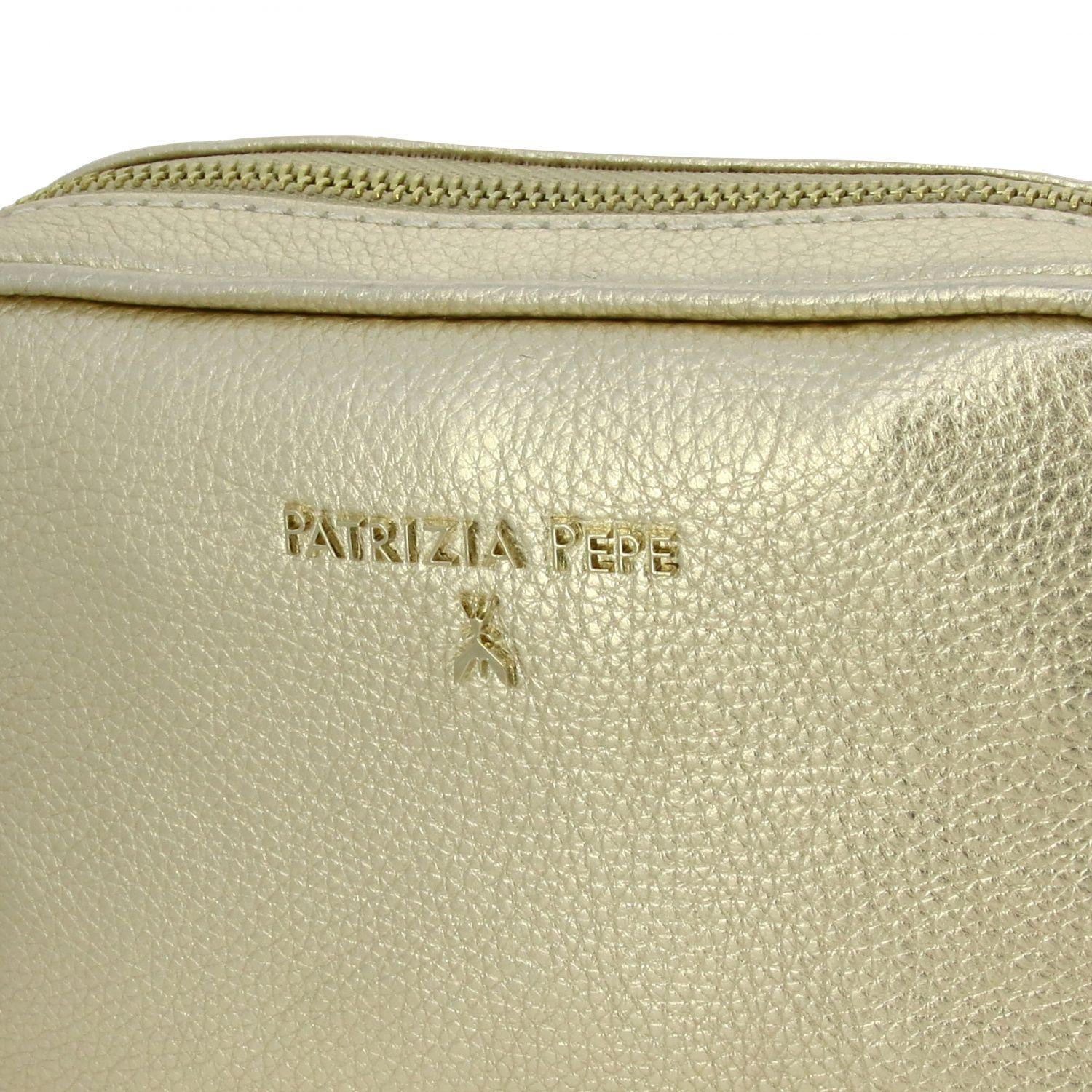 迷你包 Patrizia Pepe: Patrizia Pepe logo装饰金属感真皮捶打皮手袋 珀金色 4