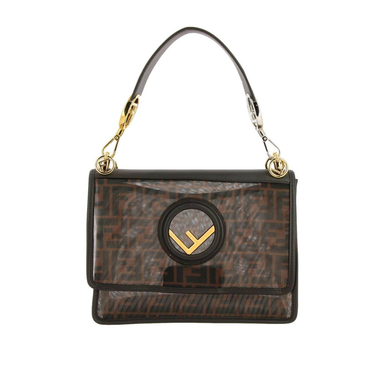 Наплечная сумка Fendi: Сумка Kan I Fendi из мягкой кожи с монограммой FF all over табачный 1