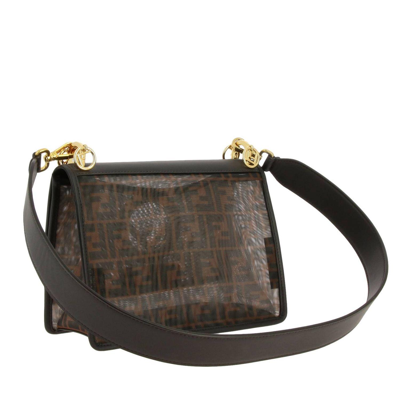 Наплечная сумка Fendi: Сумка Kan I Fendi из мягкой кожи с монограммой FF all over табачный 3