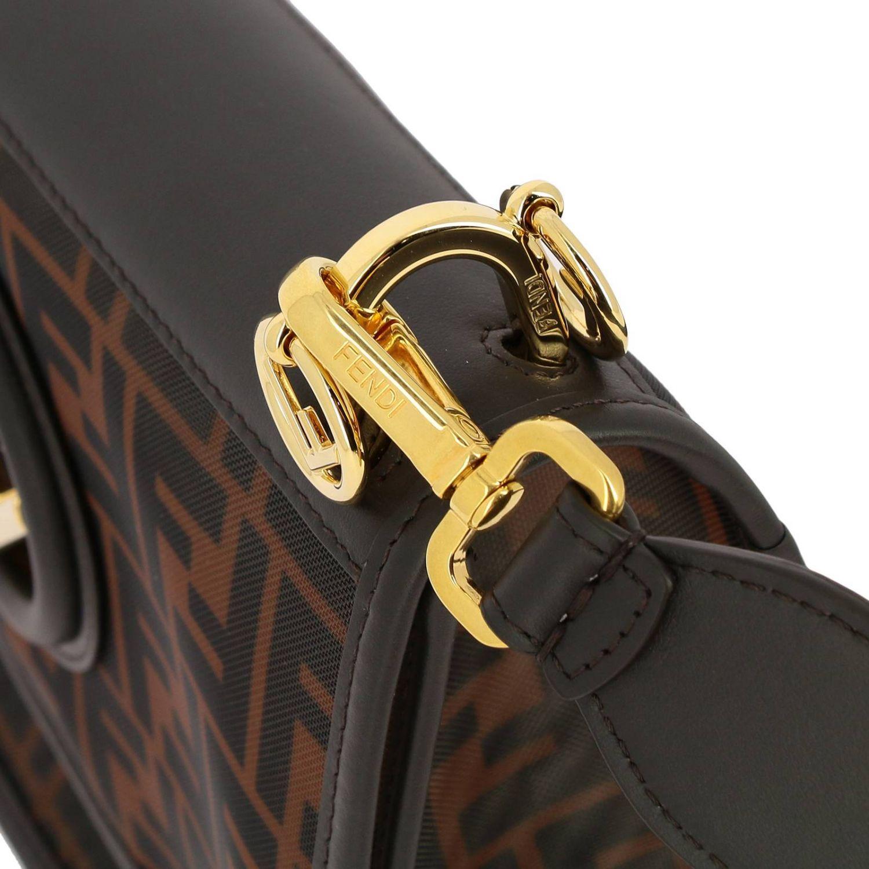 Наплечная сумка Fendi: Сумка Kan I Fendi из мягкой кожи с монограммой FF all over табачный 4