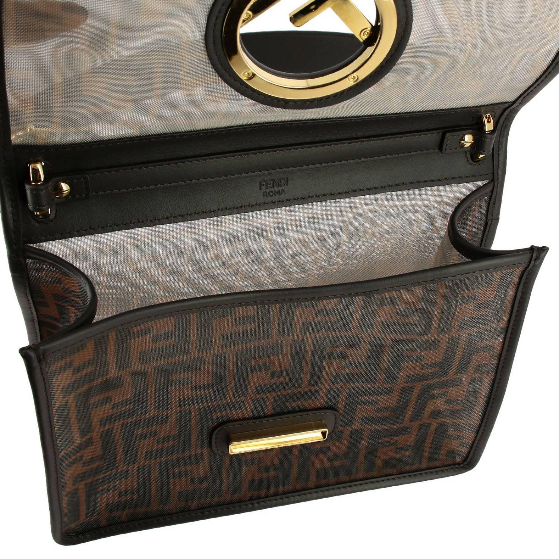 Наплечная сумка Fendi: Сумка Kan I Fendi из мягкой кожи с монограммой FF all over табачный 5
