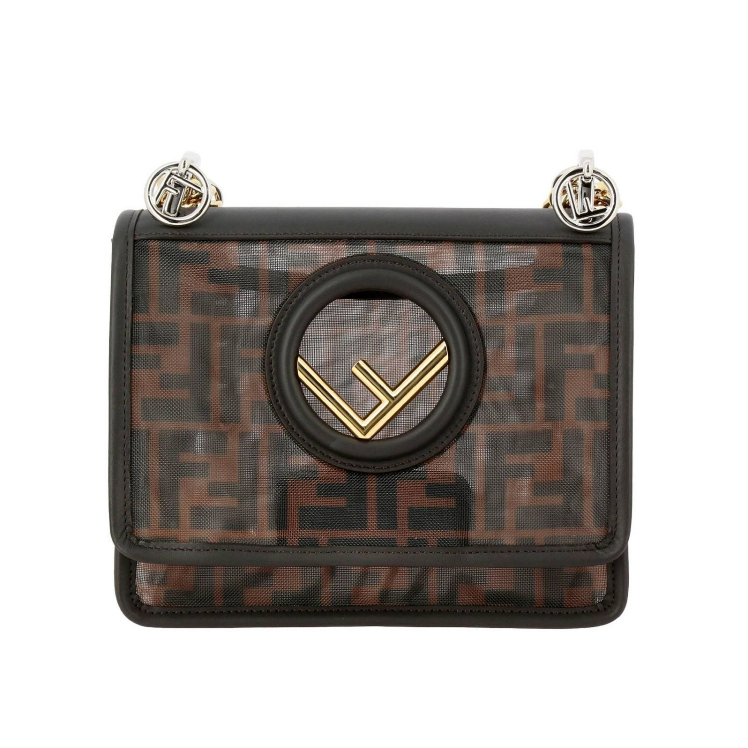 Mini Bag Fendi Kan I Small Shoulder Bag In Smooth Leather With New Fendi Double Logo