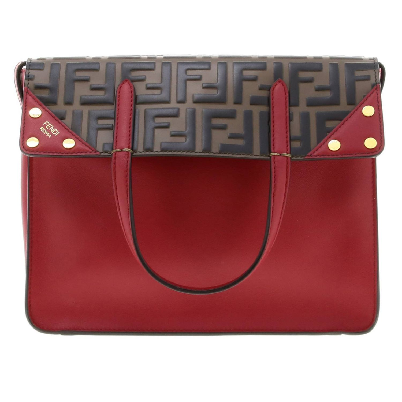 Fendi小号手提包采用哑光皮革制成,配有FF细节 红色 1