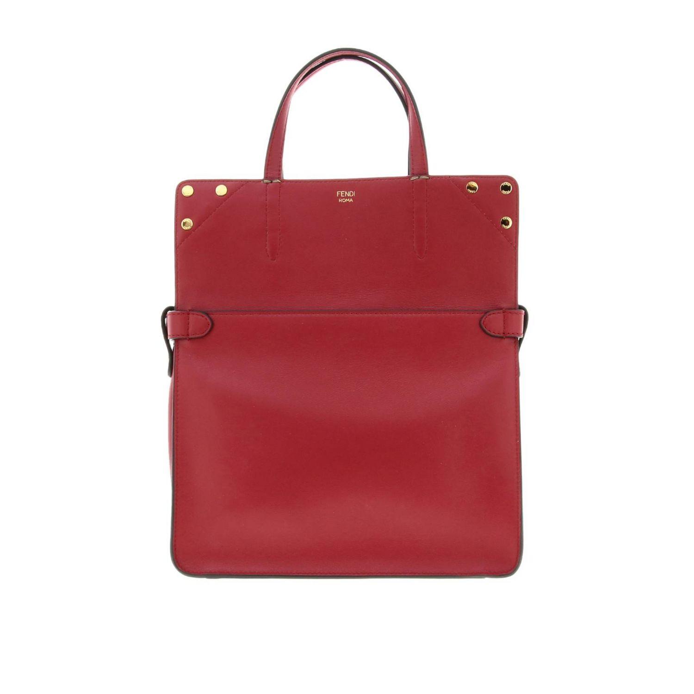 Fendi小号手提包采用哑光皮革制成,配有FF细节 红色 5