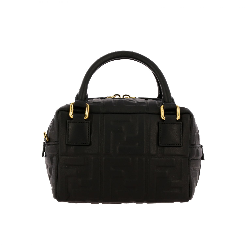 Мини-сумка Fendi: Мини-сумка Boston Fendi из кожи с узором из логотипов черный 1