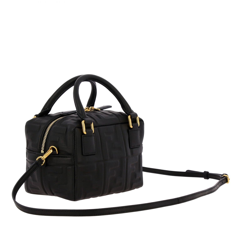Мини-сумка Fendi: Мини-сумка Boston Fendi из кожи с узором из логотипов черный 3