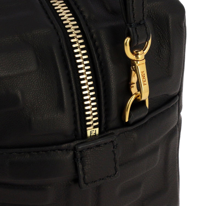 Мини-сумка Fendi: Мини-сумка Boston Fendi из кожи с узором из логотипов черный 4