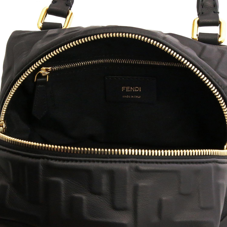 Мини-сумка Fendi: Мини-сумка Boston Fendi из кожи с узором из логотипов черный 5