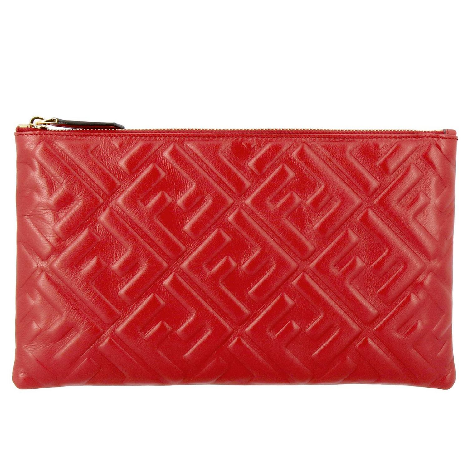Fendi Large leather clutch bag with maxi FF monogram by Fendi embossed red 1