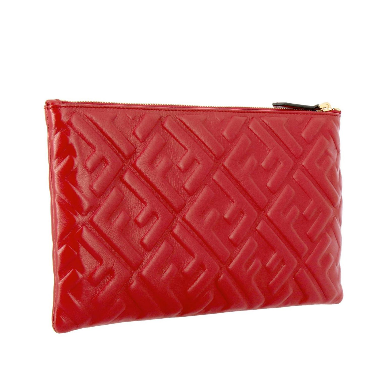 Fendi Large leather clutch bag with maxi FF monogram by Fendi embossed red 3
