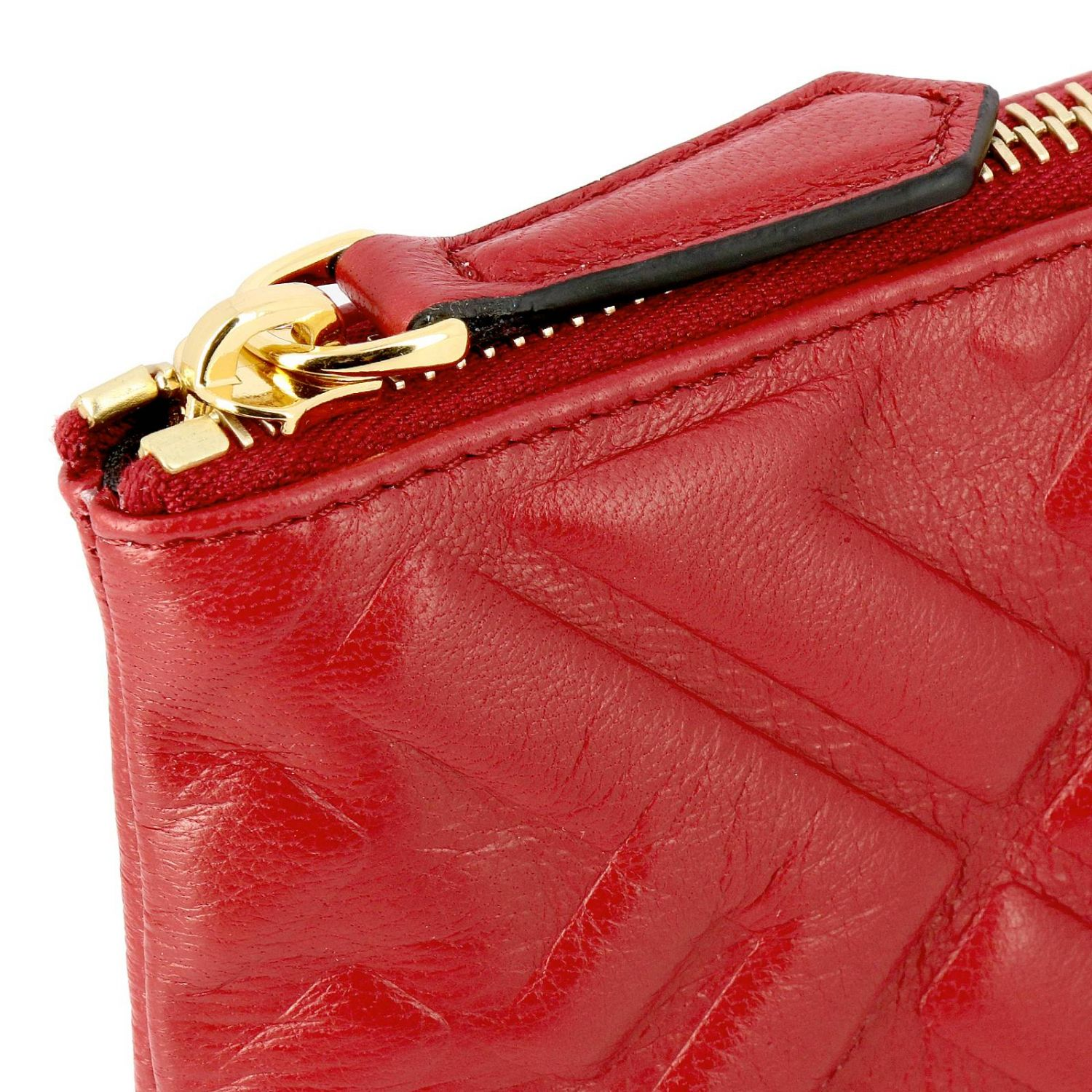 Fendi Large leather clutch bag with maxi FF monogram by Fendi embossed red 4
