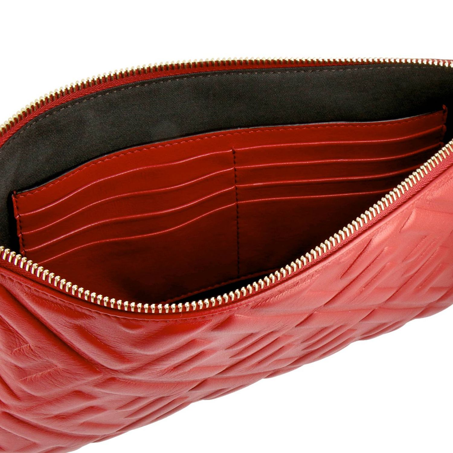 Fendi Large leather clutch bag with maxi FF monogram by Fendi embossed red 5