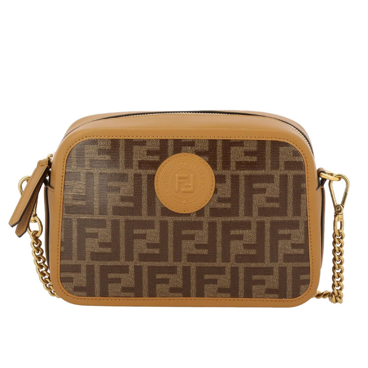Crossbody Bags Fendi Camera Case Bag In Smooth And Vitrified Leather With Ff Fendi Print