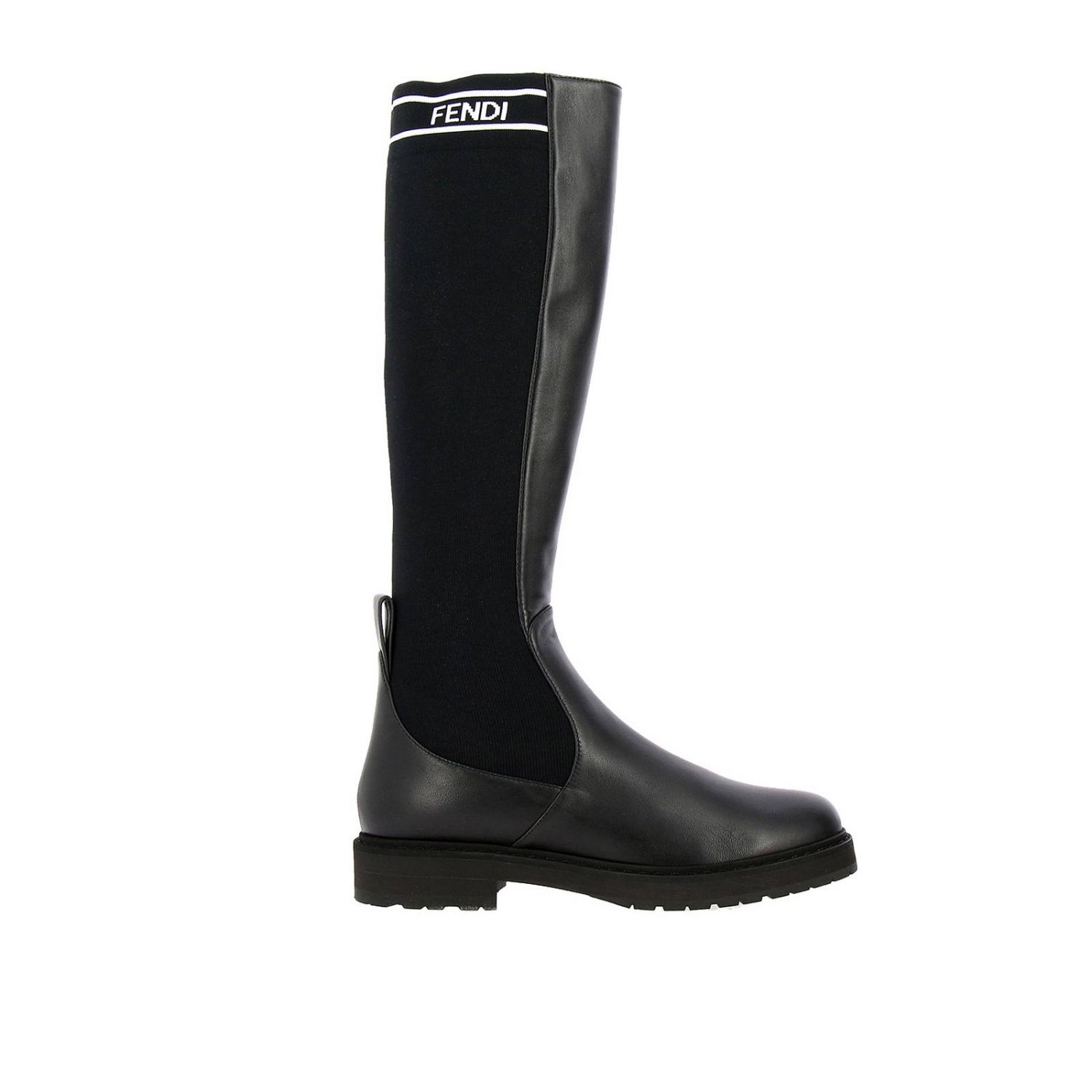 High boots in leather and ribbed knit with fendi logo and rubber sole black 1