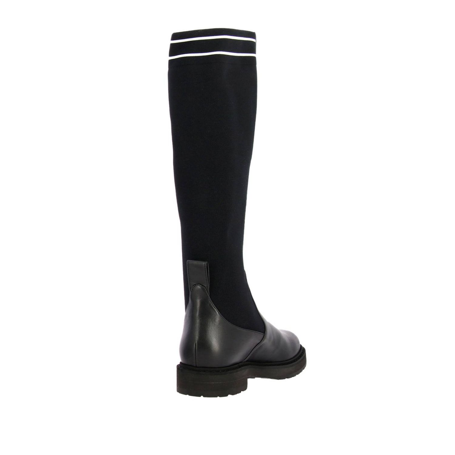 High boots in leather and ribbed knit with fendi logo and rubber sole black 4