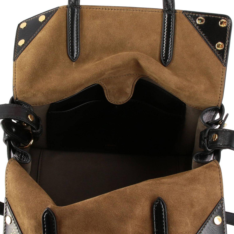 Schultertasche Fendi: Fendi Flip Tote bag aus crackle Leder mit FF-Schultergurt schwarz 6