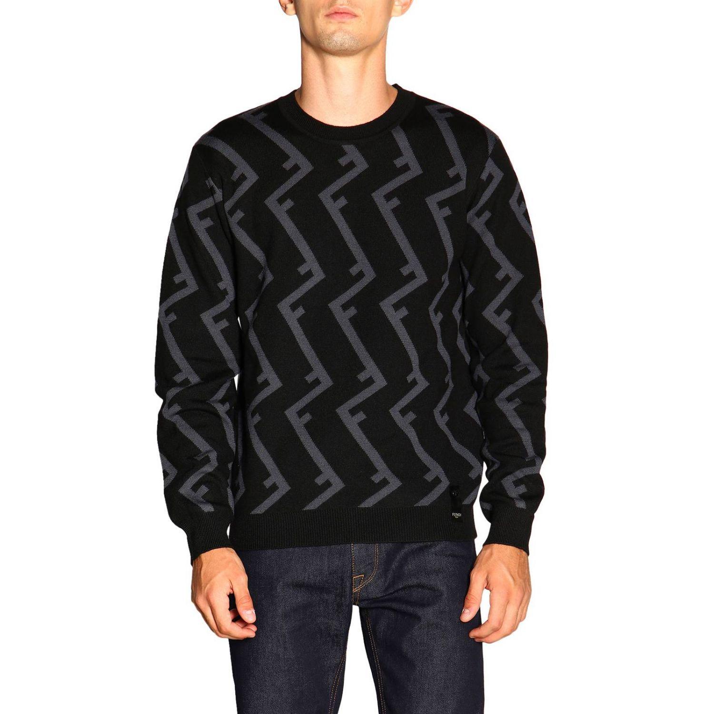 Fendi Pullover mit Rundhalsausschnitt und F Logo all over schwarz 1