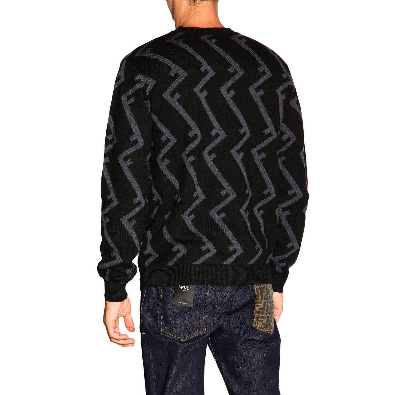 Fendi Pullover mit Rundhalsausschnitt und F Logo all over schwarz 3