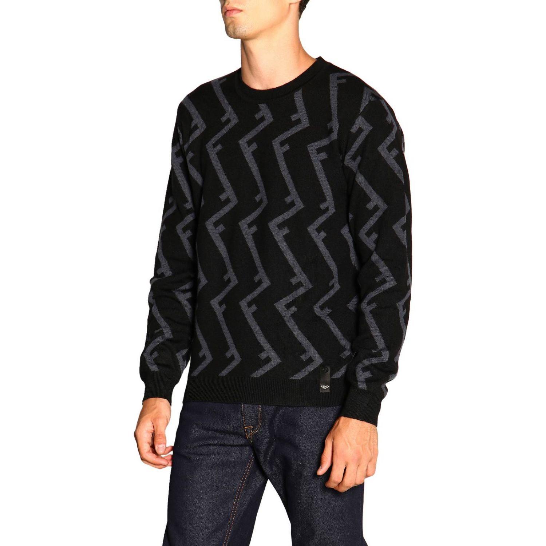 Fendi Pullover mit Rundhalsausschnitt und F Logo all over schwarz 4
