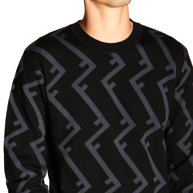 Fendi Pullover mit Rundhalsausschnitt und F Logo all over schwarz 5