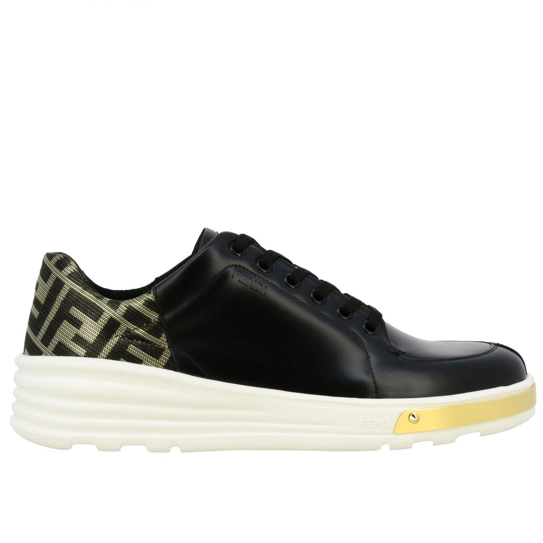 运动鞋 Fendi: Fendi FF金银丝装饰真皮运动鞋 黑色 1