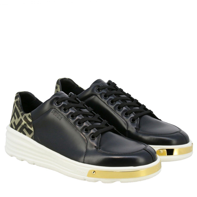 运动鞋 Fendi: Fendi FF金银丝装饰真皮运动鞋 黑色 2