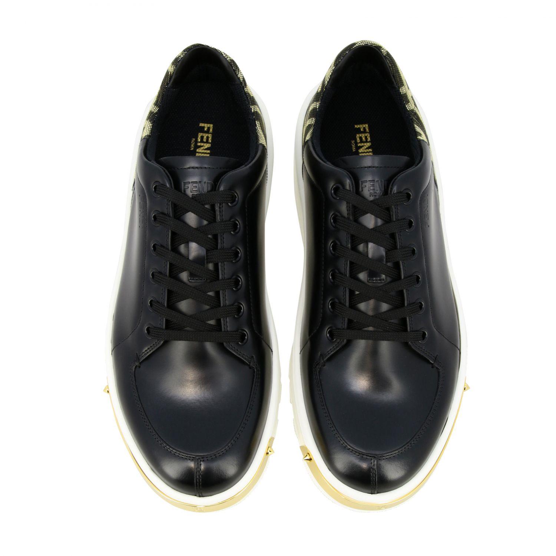 运动鞋 Fendi: Fendi FF金银丝装饰真皮运动鞋 黑色 3