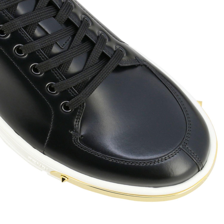 运动鞋 Fendi: Fendi FF金银丝装饰真皮运动鞋 黑色 4