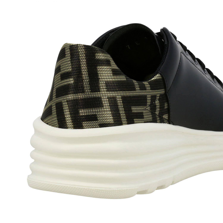 运动鞋 Fendi: Fendi FF金银丝装饰真皮运动鞋 黑色 5